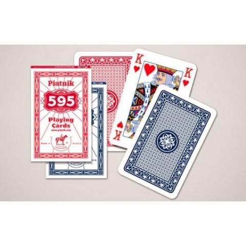Spel Bridge 595 Speelkaarten met linnen - Single Deck (Assorti geleverd rood of blauw) Piatnik