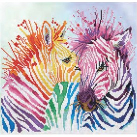 Diamond Painting 40x40 Rainbow Zebras Diamond Dotz
