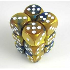 Dobbelset Gemini Blue-Gold/White D6 16mm (12 stuks) Chessex