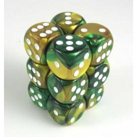 Dobbelset Gemini Gold-Green/White D6 16mm (12 stuks) Chessex