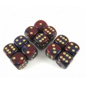 Dobbelset Gemini Purple-Red/Gold D6 16mm (12 stuks) Chessex