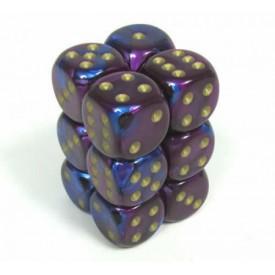 Dobbelset Gemini Blue-Purple/Gold D6 16mm (12 stuks) Chessex