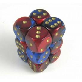 Dobbelset Gemini Blue-Red/Gold D6 16mm (12 stuks) Chessex