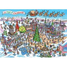 Puzzel 1000 stukjes Doodletown: 12 Days of Christmas Cobble Hill