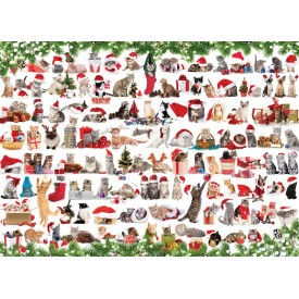 Puzzel 1000 stukjes Holiday Cats Eurographics