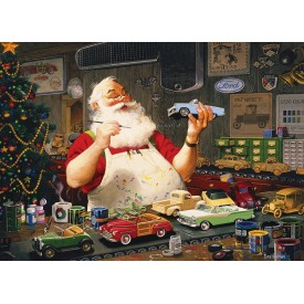 Puzzel 1000 stukjes Santa Painting Cars Cobble Hill