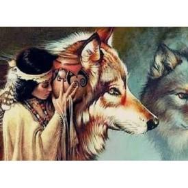 Diamond Painting 40x50 cm Wolf Indiaan Twisk