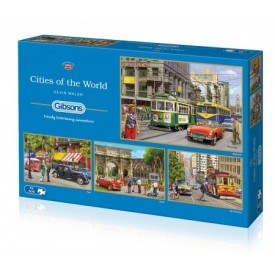 Puzzel 4x 500 stukjes Cities of the World Gibsons