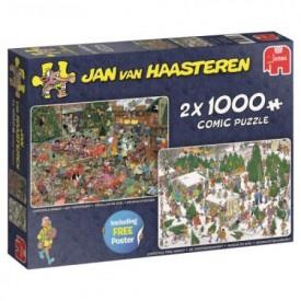 Puzzel 2 x 1000 stukjes Kerstcadeautjes Jan van Haasteren