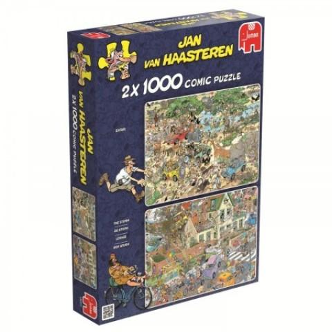 Puzzel  2x 1000 stukjes Safari en Storm Jan van Haasteren